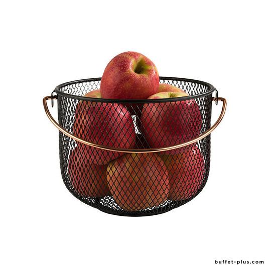 Black metal basket with handle