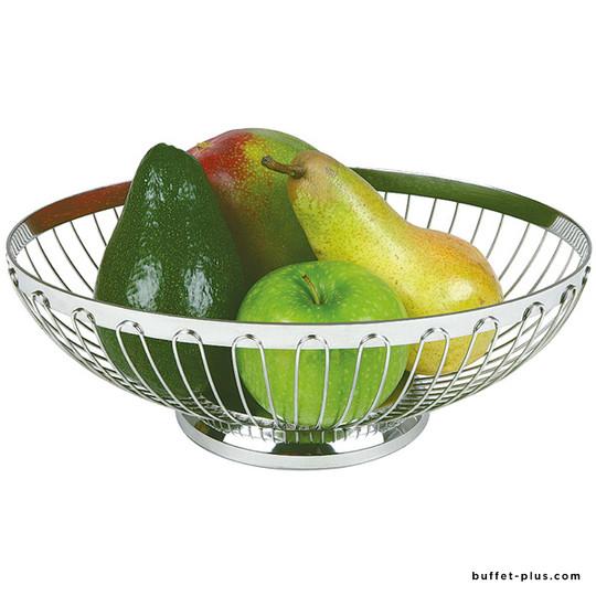 Oval bread or fruit basket openwork stainless steel