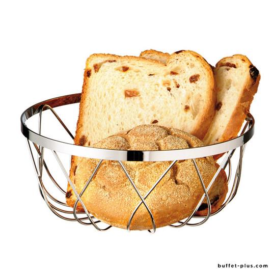 Round bread or fruit basket openwork metal chrome