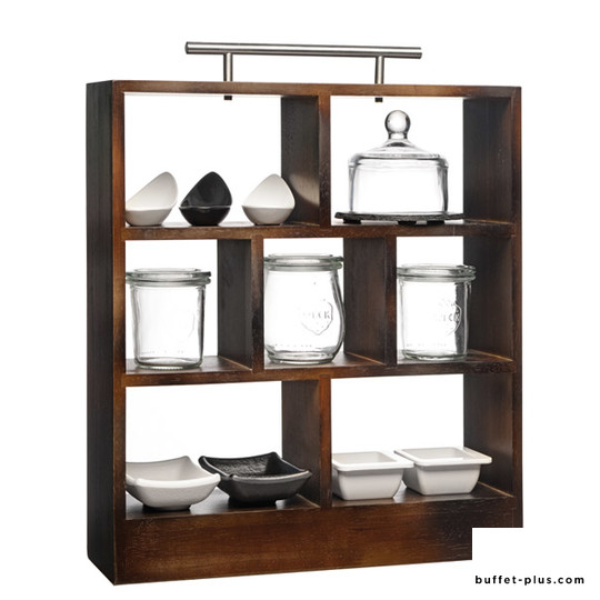 Rubber wood in dark brown 7 compartments, stainless steel handle
