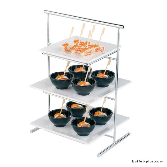 Metal display stand for plates or trays