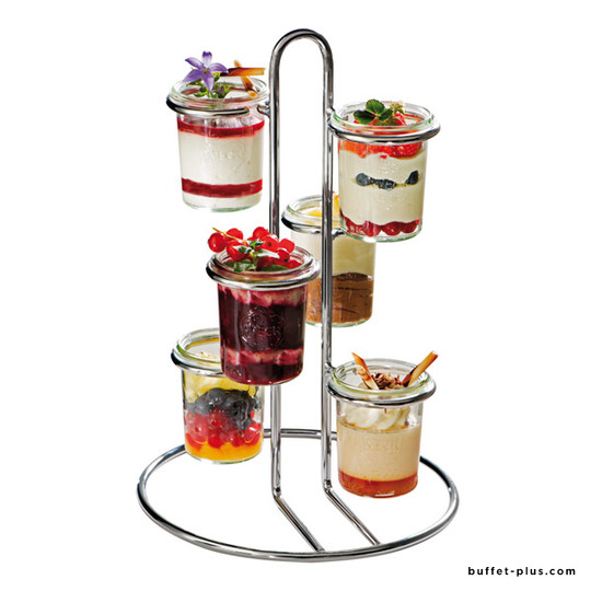 Chrome plated serving stand for small glasses