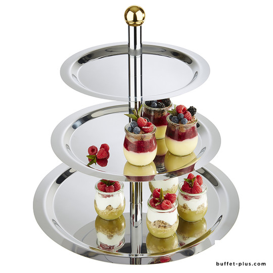 Cake etagere, stainless steel and chrome plated Finesse collection