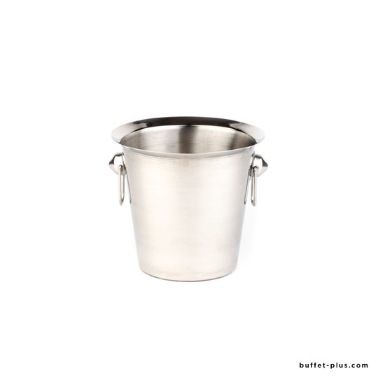 Stainless steel wine or champagne cooler, with 2 ring shiny handles