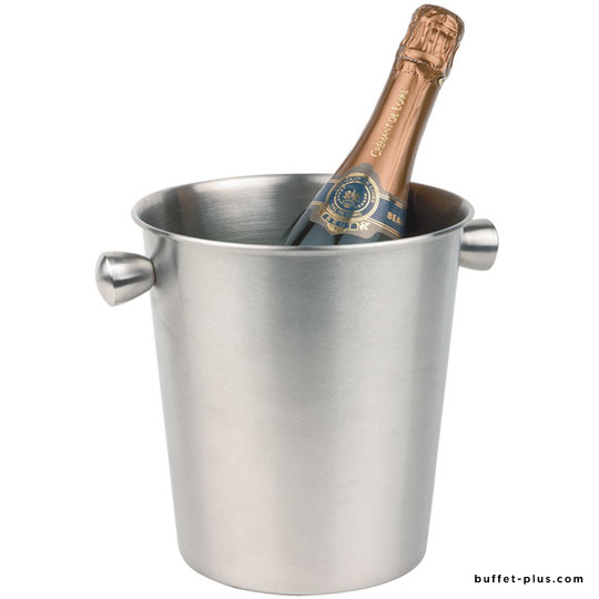 Stainless steel wine or champagne cooler with 2 hollow handles