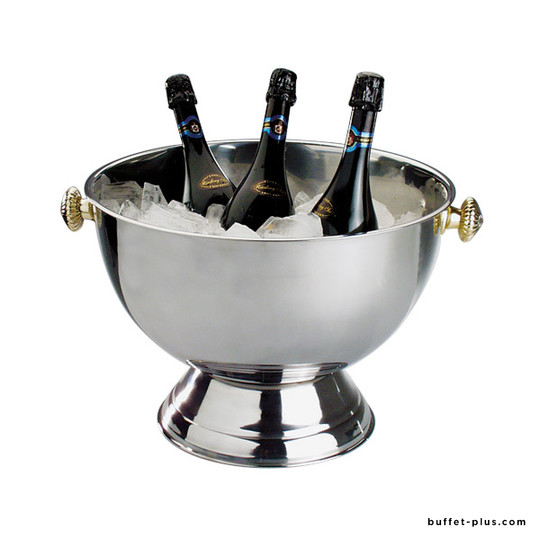 Stainless steel champagne bowl, with handles