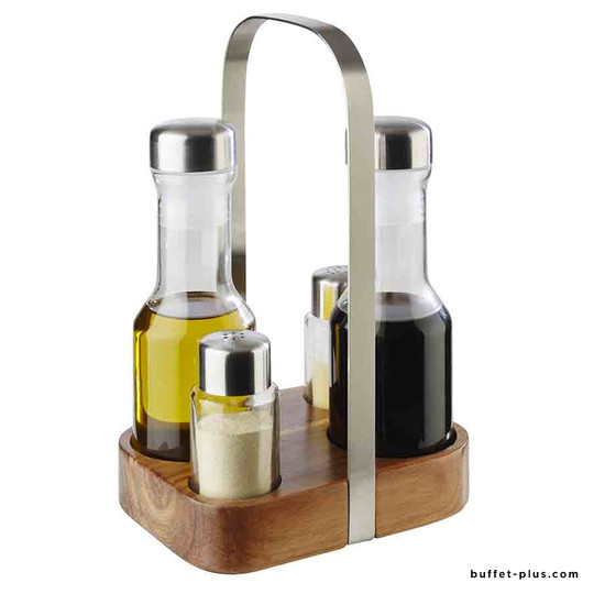 Menage for salt, pepper, oil and vinegar Wood collection