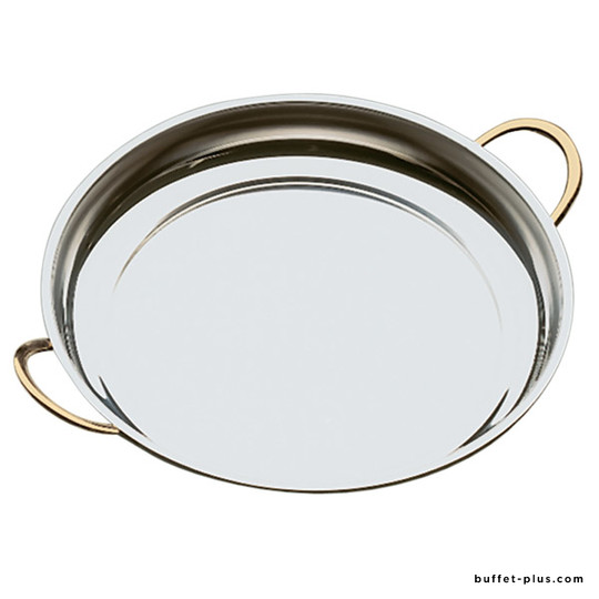 Stainless steel serving dish with gold plated handles