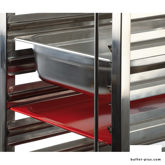 Stainless steel service trolley, 15 double bars
