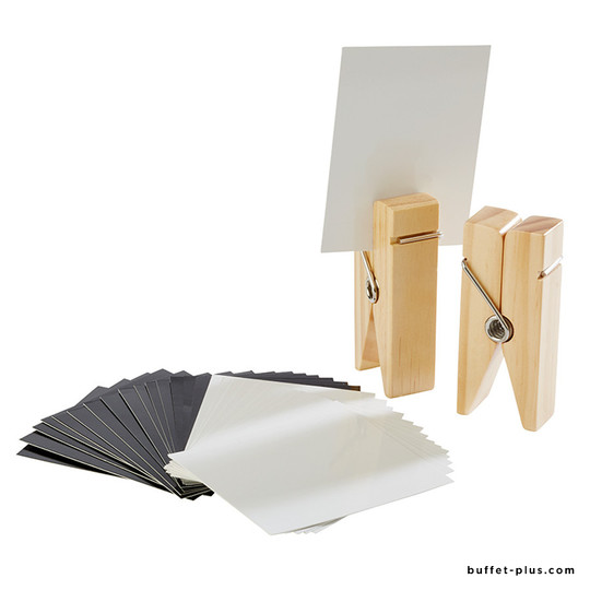 """Set of 2 table stand """"clothespin"""" + labels"""
