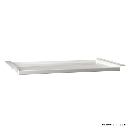 White melamine tray with wood board