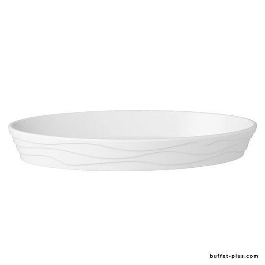 White melamine oval dish wavy shaped outside Classic Wave collection