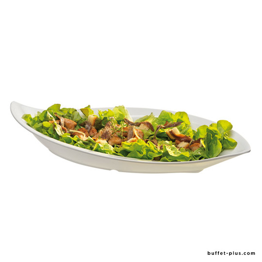 White melamine oval deep plate, Casual collection