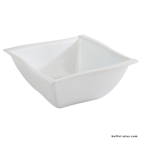White melamine bowl / salad bowl wavy edges Sinus collection