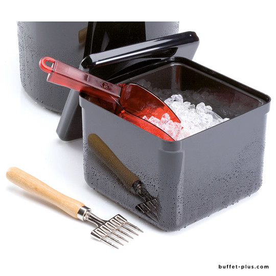 Square black ice bucket with drainer