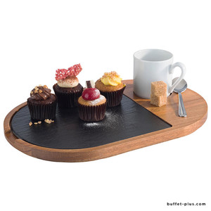 Serving board 2 pieces wood and slate