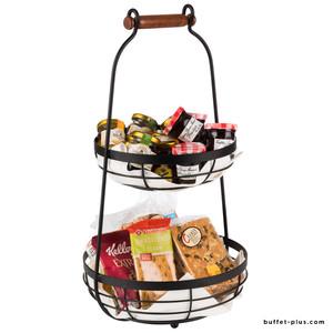 Double black metal basket with wooden handle